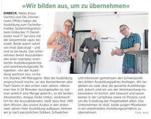 """Zeitungsartikel """"wir bilden aus, um zu übernehmen"""" - Einbecker Morgenpost"""