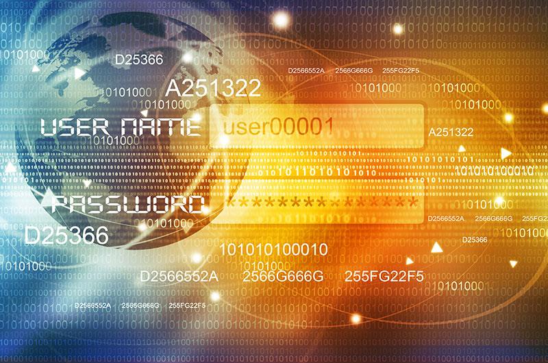 Eingabemaske User Name und Password, im Hintergrund Weltkugel