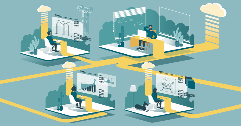 Grafik: Vier Personen sitzen in eigenen Räumen am Computer. Die Computer sind durch gelbe Streifen miteinander verbunden und nach außen vernetzt.